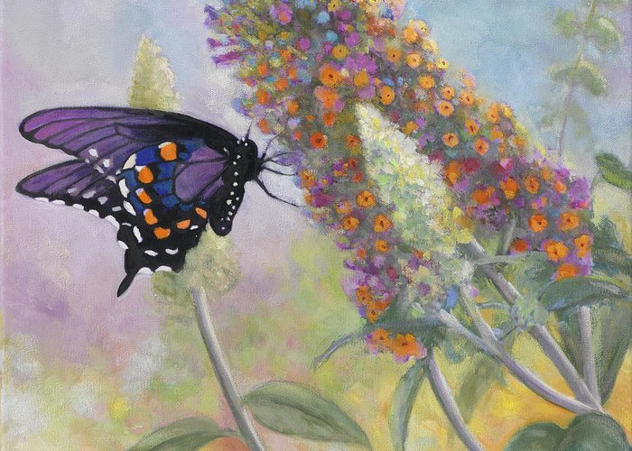 Admiral Greeting Card featuring the painting Admiral Butterfly by John Zaccheo