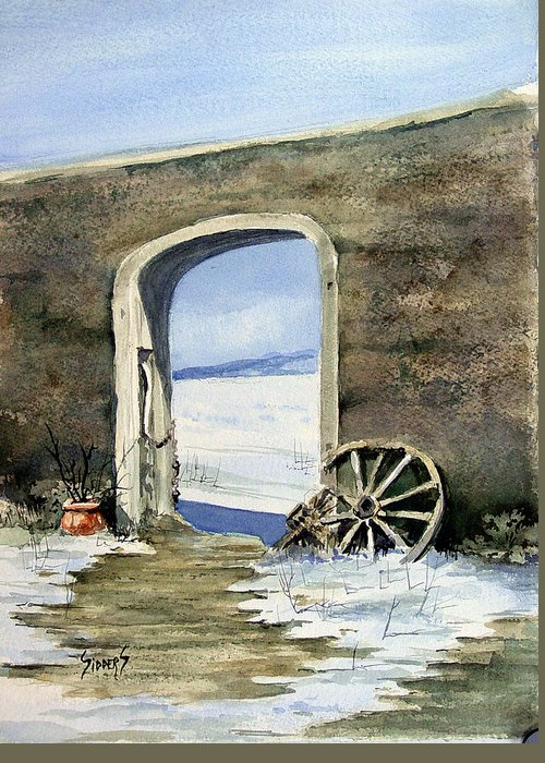 Gate Greeting Card featuring the painting Adobe Wall by Sam Sidders