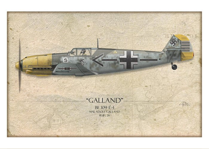 Aviation Greeting Card featuring the painting Adolf Galland Messerschmitt Bf-109 - Map Background by Craig Tinder
