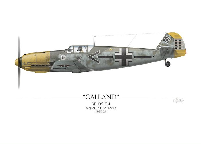 Aviation Greeting Card featuring the painting Adolf Galland Messerschmitt Bf-109 - White Background by Craig Tinder