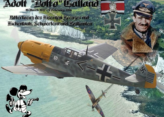 Adolf Galland Over Dover Greeting Card