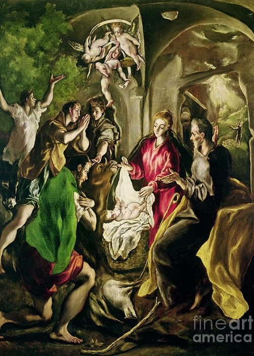 Adoration Des Bergers; Nativity; Birth; Infant Christ; Jesus; Madonna; Virgin Mary; Joseph; Changing; Angels; Stable; Manger Greeting Card featuring the painting Adoration Of The Shepherds by El Greco Domenico Theotocopuli