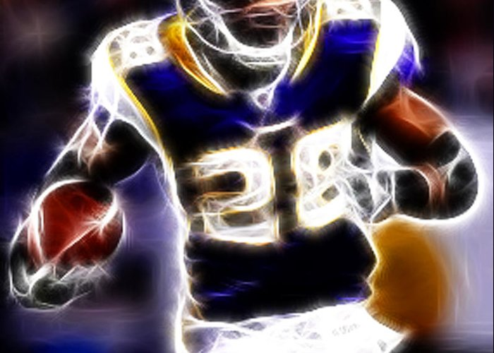 Adrian Peterson Greeting Card featuring the photograph Adrian Peterson 01 - Football - Fantasy by Paul Ward