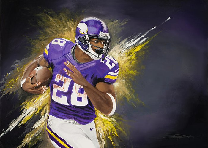 Ap Greeting Card featuring the painting Adrian Peterson by Don Medina