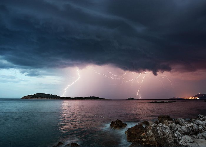 Adriatic Sea Greeting Card featuring the photograph Adriatic Lightning by Image By Chris Winsor
