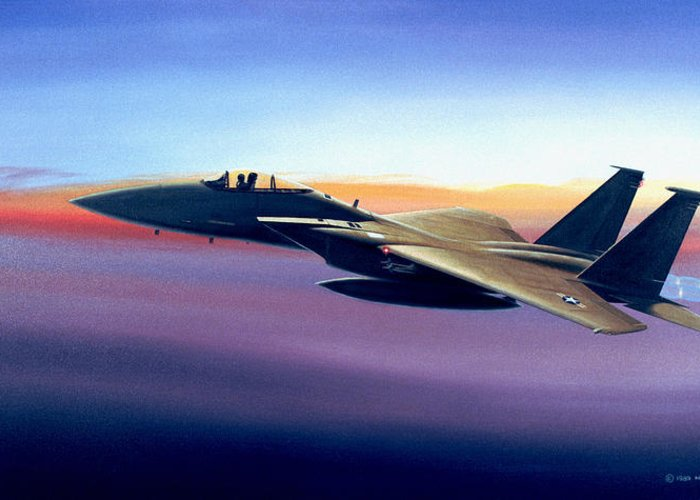 Mcdonnell Douglas Greeting Card featuring the painting Advantage Eagle by Michael Swanson