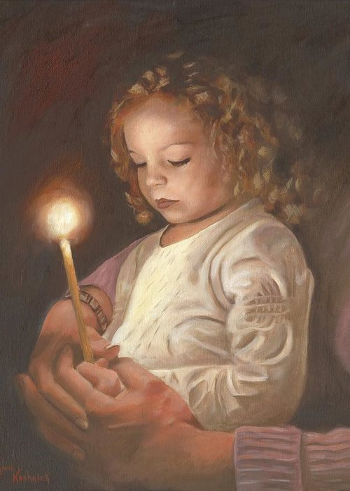 Advent Greeting Card featuring the painting Advent Light by Anne Kushnick