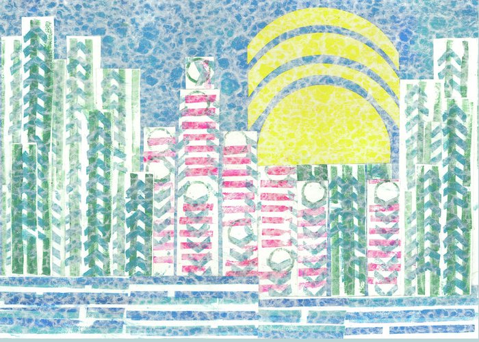 Cities Greeting Card featuring the mixed media Cloud City by Strangefire Art    Scylla Liscombe
