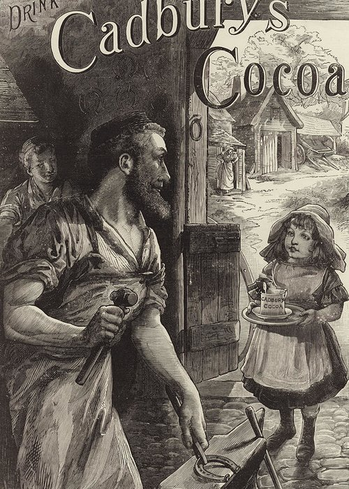 Blacksmiths Greeting Card featuring the drawing Advertisement For Cadburys Drinking Cocoa by English School