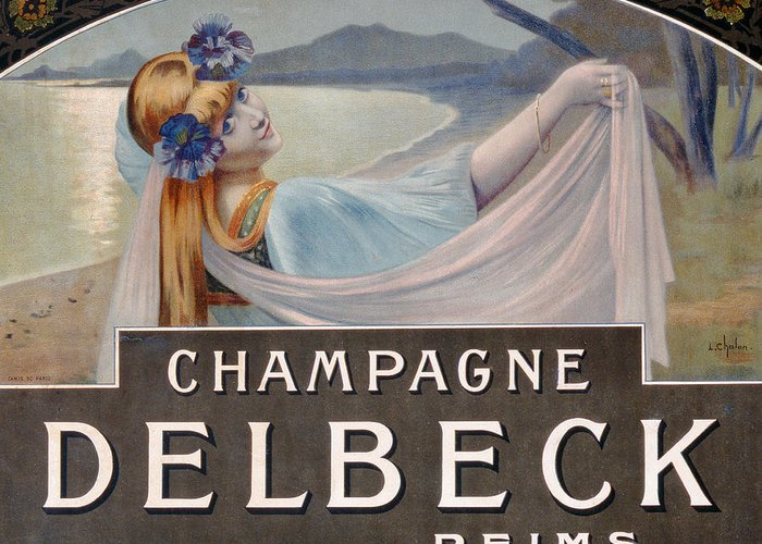 Advertising; Advert; Vintage Poster; Promoting; Publicising; Publicity; Alcohol; Sparkling Wine; Female; Coast; Flowers; Beautiful Woman; Art Nouveau Greeting Card featuring the drawing Advertisement For Champagne Delbeck by Louis Chalon