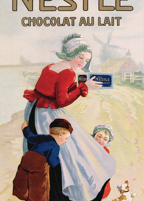 Milk Chocolate; Advert; Publicity; Vintage Poster; 1920s; 20s; Twenties; Windmill; Riverbank; River; Mother; Girl; Boy; Child; Daughter; Son; Dutch Costume; Traditional Dress; Clogs; Confectionery; Treat; Food; Children; Exciting; Excitement; Beagle; Dog; Puppy; Pet Greeting Card featuring the drawing Advertisement For Chocolat Au Lait by Anonymous