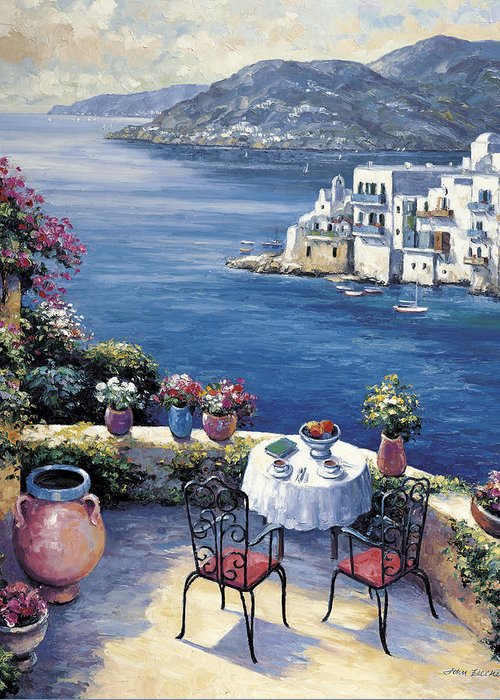 Pallet Greeting Card featuring the painting Aegean Vista by John Zaccheo