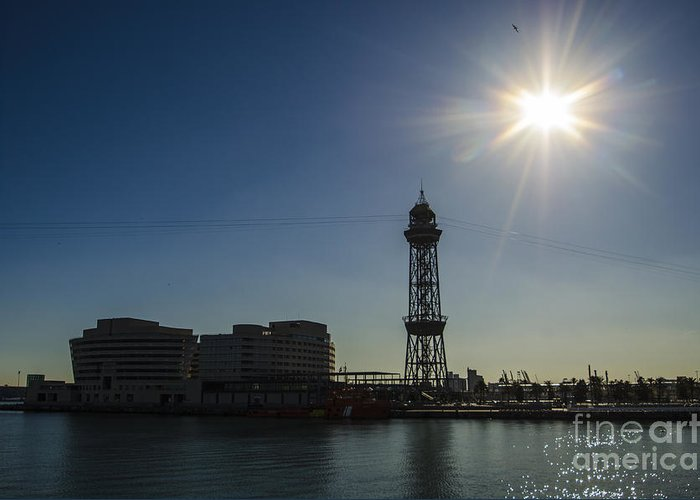 Barcelona Greeting Card featuring the photograph Aeri Del Port Vell Tower by Deborah Smolinske