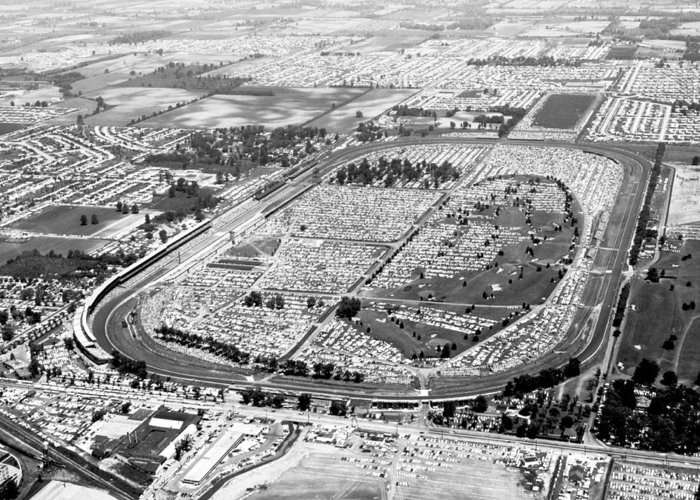 1950's Greeting Card featuring the photograph Aerial Of Indy 500 by Underwood Archives