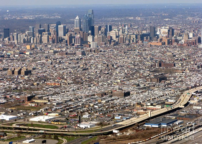 Philadelphia Greeting Card featuring the photograph Aerial Philadelphia by Olivier Le Queinec