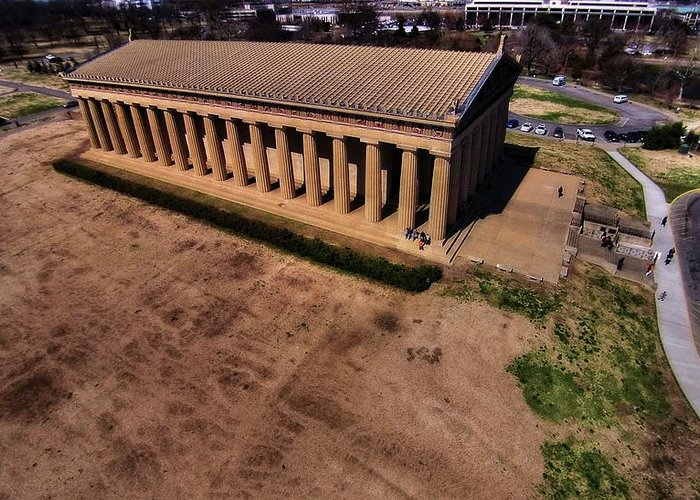 Aerial Photography Of The Parthenon Greeting Card featuring the photograph Aerial Photography Of The Parthenon by Dan Sproul