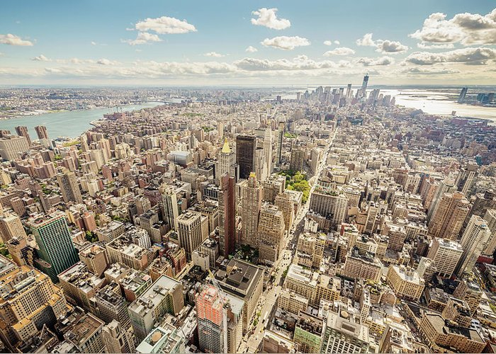 Aerial View Cityscape Manhattan New Greeting Card For Sale By Mlenny