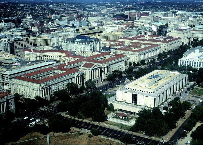 Downtown District Greeting Card featuring the photograph Aerial View Of Constitution Avenue by Hisham Ibrahim
