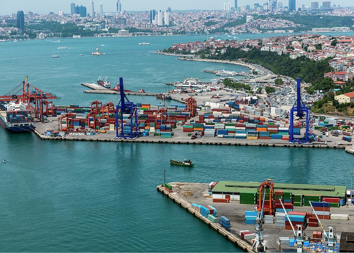 Istanbul Greeting Card featuring the photograph Aerial View Of Container Port And Ship by Omersukrugoksu