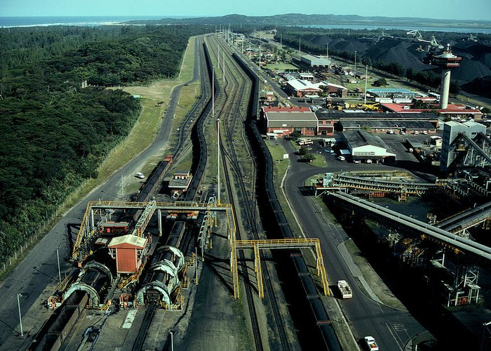 Freight Transportation Greeting Card featuring the photograph Aerial View Of Large Coal Export by Beyondimages