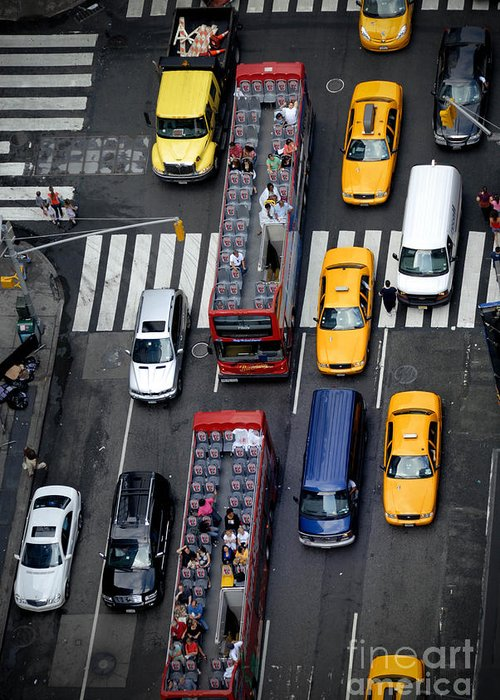 Aerial View Greeting Card featuring the photograph Aerial View Of New York City Traffic by Amy Cicconi