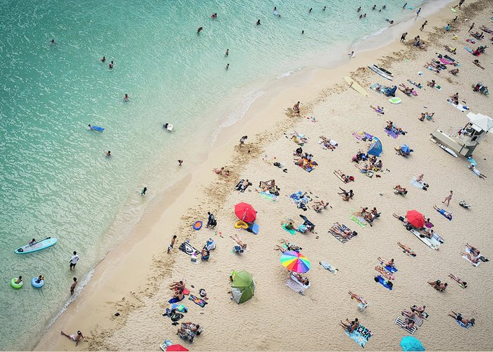 Honolulu Greeting Card featuring the photograph Aerial View Of Tourists On Beach by Alberto Guglielmi