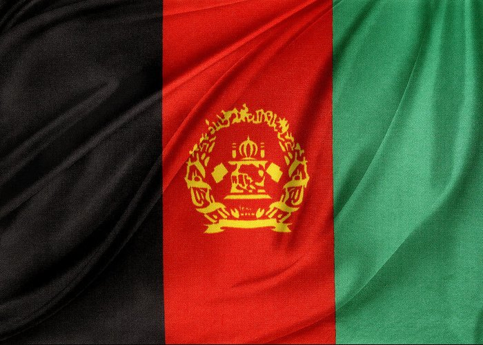 Cloth Greeting Card featuring the photograph Afghanistan Flag by Les Cunliffe