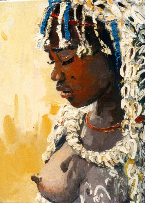 Portrait Greeting Card featuring the painting Africa 2 by Sefedin Stafa