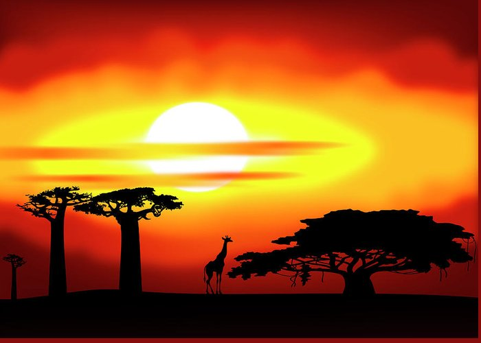 Africa Greeting Card featuring the digital art Africa Sunset by Michal Boubin