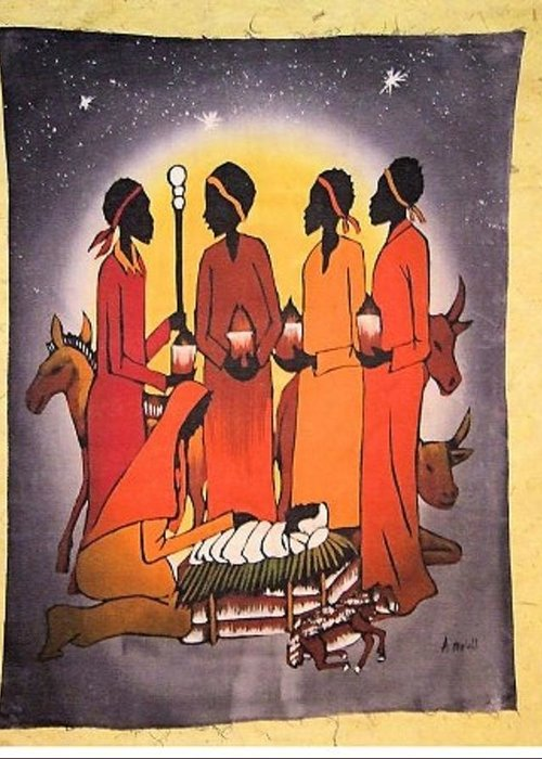 African Christmas.African Christmas Nativity Greeting Card