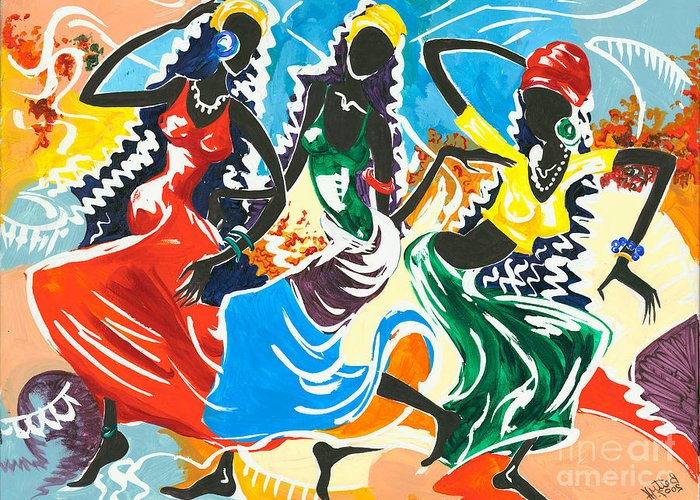 Canvas Prints Greeting Card featuring the painting African Dancers No. 2 by Elisabeta Hermann