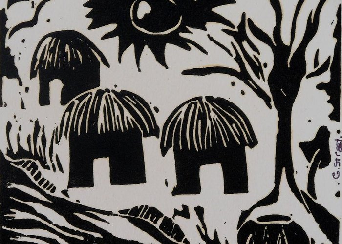 Lino Greeting Card featuring the relief African Huts White by Caroline Street