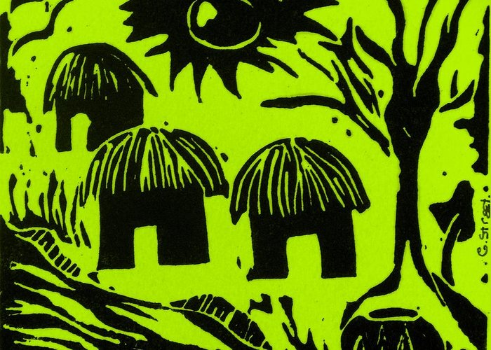 Lino Greeting Card featuring the relief African Huts Yellow by Caroline Street