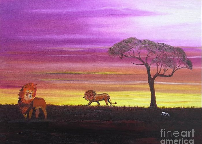 African Greeting Card featuring the painting African Lions by Barbara Hayes