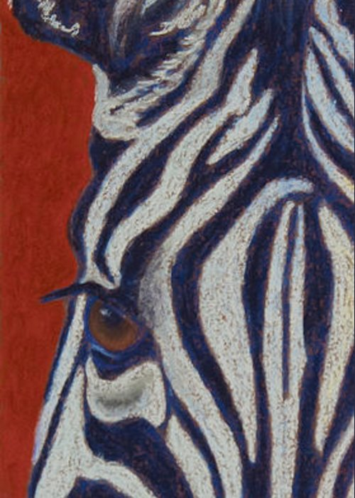 Zebra Greeting Card featuring the pastel African Stripes by Tracy L Teeter
