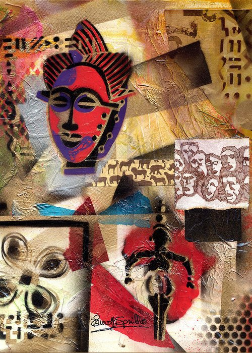 African Mask Greeting Card featuring the painting Afro Aesthetic B by Everett Spruill