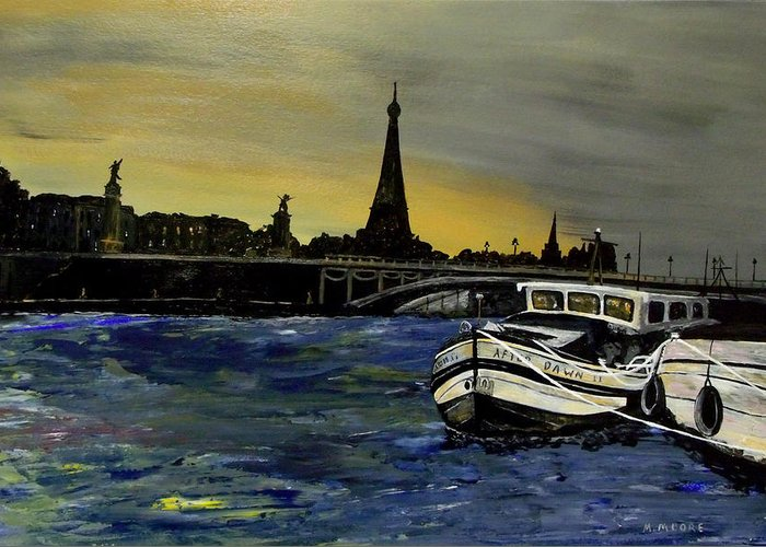 Paris Greeting Card featuring the painting After Dawn II by Mark Moore