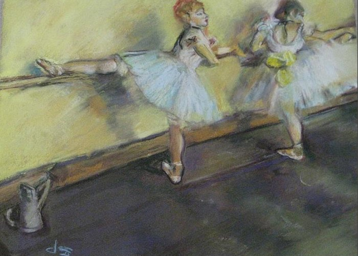 After Degas Greeting Card featuring the painting After Degas 2 by Dorothy Siclare