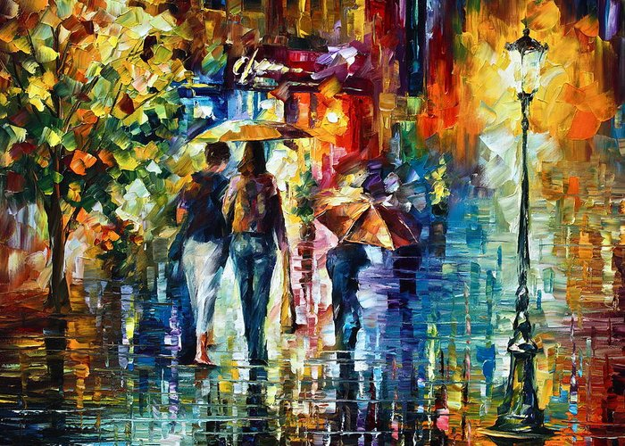 City Greeting Card featuring the painting After Hours by Leonid Afremov