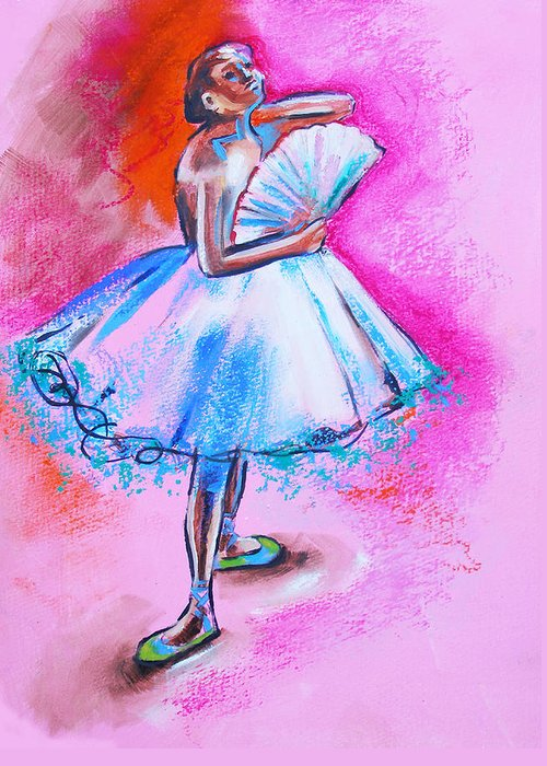 Degas Greeting Card featuring the painting After Master Degas Ballerina With Fan by Susi Franco
