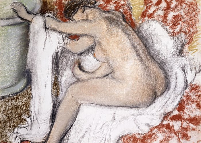 19th Century Greeting Card featuring the painting After The Bath Woman Drying Herself by Edgar Degas