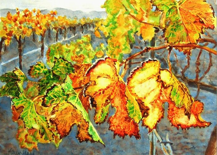 Vineyard Greeting Card featuring the painting After The Harvest by Karen Ilari