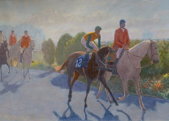 Horse Racing Greeting Card featuring the painting After The Race by Terry Perham