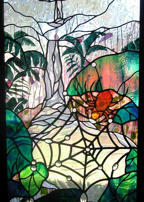 Glass Greeting Card featuring the glass art After The Rain by Christine Alexander