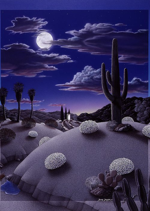 Desert Greeting Card featuring the painting After The Rain by Snake Jagger