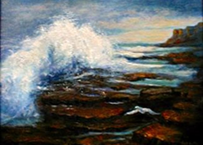 Seascape Greeting Card featuring the painting After The Storm by Gail Kirtz