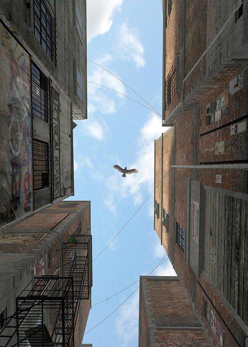 Urban Greeting Card featuring the digital art Afternoon Alley by Cynthia Decker