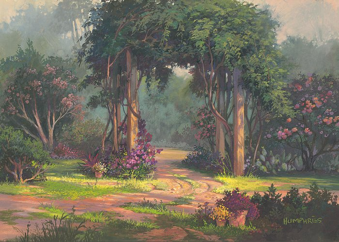 Landscape Greeting Card featuring the painting Afternoon Arbor by Michael Humphries