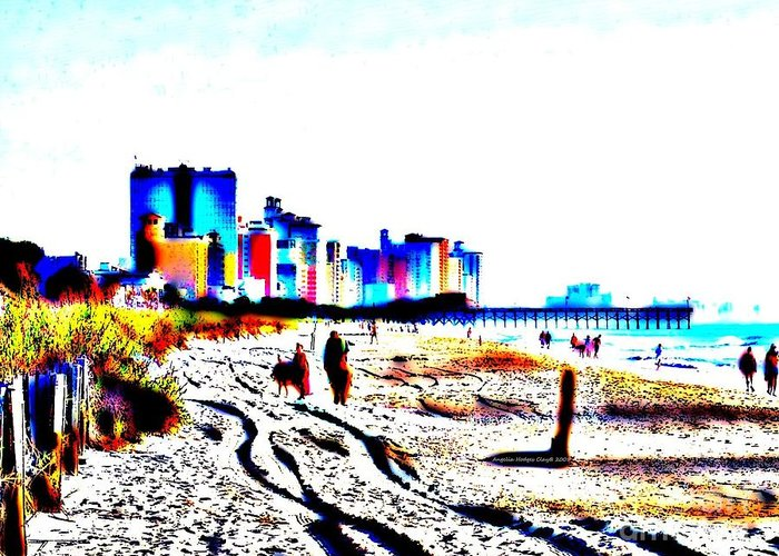 Landscape Greeting Card featuring the digital art Afternoon At The Beach by Angelia Hodges Clay