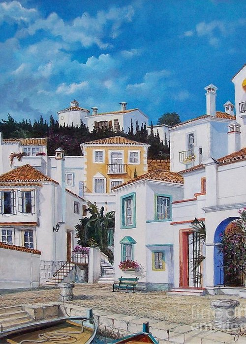 Cityscape Greeting Card featuring the painting Afternoon Light In Montenegro by Sinisa Saratlic